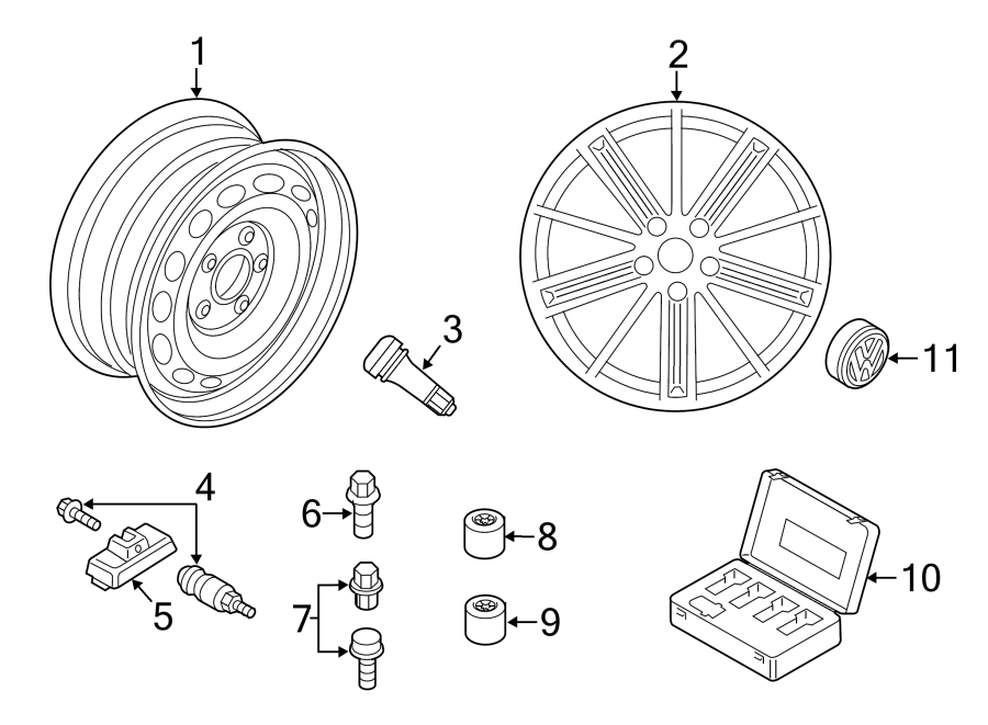 Diagram WHEELS. COVERS & TRIM. for your 2015 Volkswagen Tiguan
